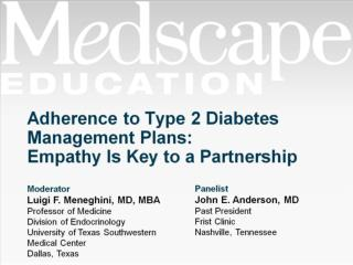 Adherence to Type 2 Diabetes Management Plans:  Empathy Is Key to a Partnership