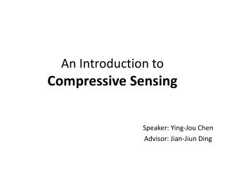 An Introduction to  Compressive Sensing
