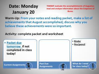 Date: Monday January 20