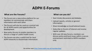 ADPH E-Forums