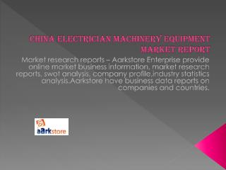 China Electrician Machinery Equipment Market Report