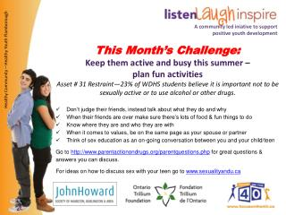 This Month's  Challenge: Keep  them active and busy this summer –  plan  fun activities