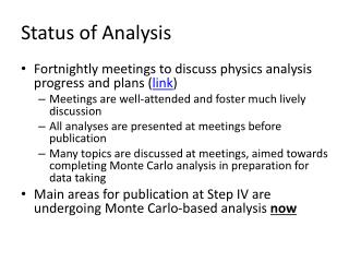 Status of Analysis