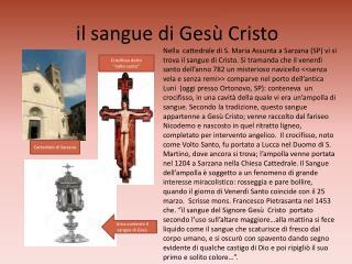 Il sangue di Ges  Cristo
