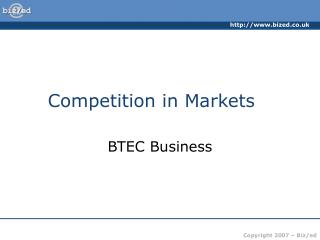 Competition in Markets
