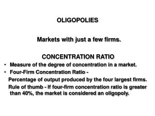 OLIGOPOLIES