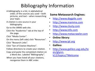 Bibliography Information