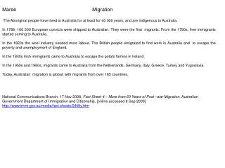 Maree Migration