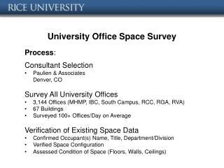 University Office Space Survey