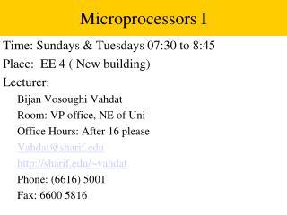 Microprocessors I