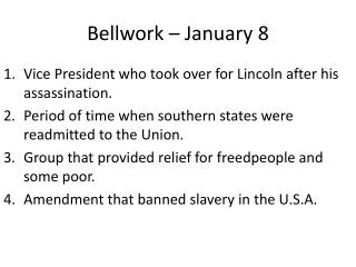 Bellwork  – January  8