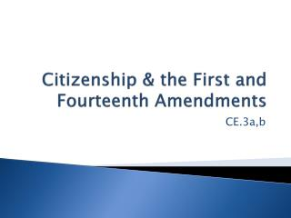 Citizenship & the First and Fourteenth Amendments