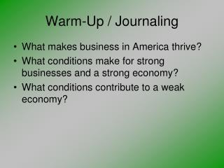 Warm-Up / Journaling