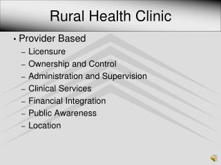 Rural Health Clinic