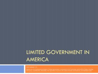 Limited Government in America