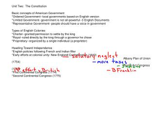 Unit Two:  The Constitution Basic concepts of American Government
