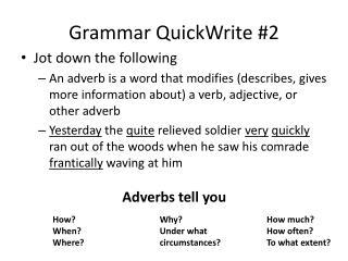 Grammar  QuickWrite  #2