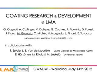 COATING RESEARCH  & DEVELOPMENT  @ LMA
