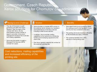 Government.  Czech Republic : Xerox solutions for  Chomutov  city administration