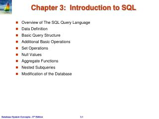 Chapter 3:  Introduction to SQL