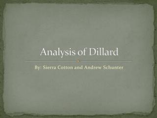 Analysis of Dillard