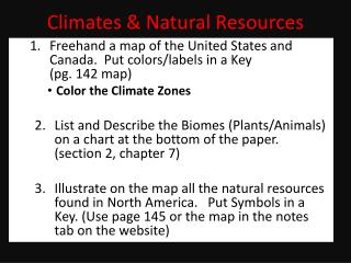 Climates & Natural Resources