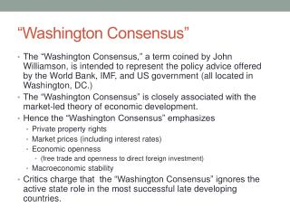 """Washington Consensus"""