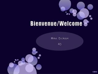Bienvenue/ Welcome