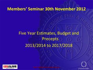 Members' Seminar 30th November 2012