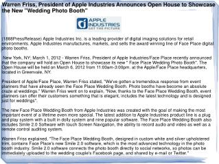 Warren Friss, President of Apple Industries Announces Open H