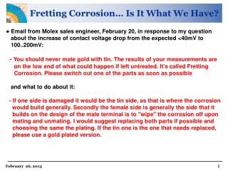 Fretting Corrosion… Is It What We Have?