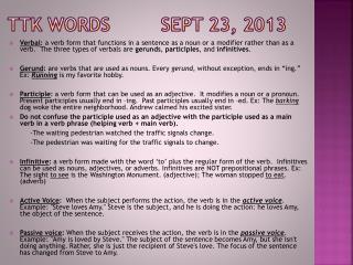 TTK Words         Sept 23, 2013