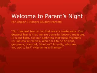 Welcome to Parent's Night