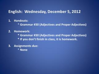English:  Wednesday, December 5, 2012