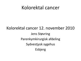 Kolorektal  cancer