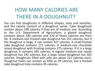 HOW MANY CALORIES ARE THERE IN A DOUGHNUT?