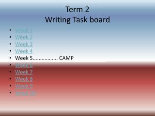 Term 2  Writing Task board