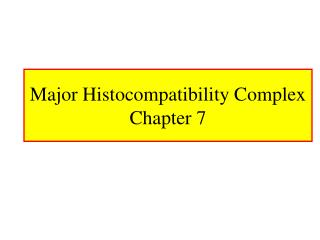 Major Histocompatibility Complex Chapter 7