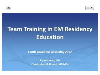 Team Training in EM Residency Education