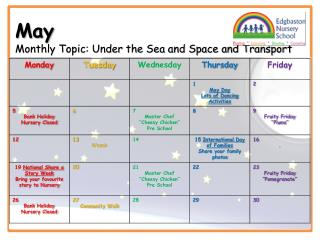 May Monthly Topic: Under the Sea and Space and Transport