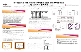 Measurement of urine Orotic acid and Orotidine by UPLC – MS/MS