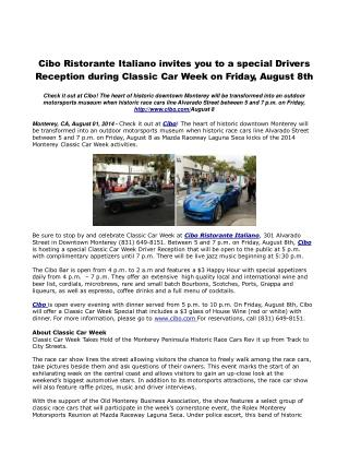 Cibo Ristorante Italiano invites you to a special Drivers