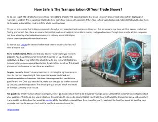 How Safe Is The Transportation Of Your Trade Shows?