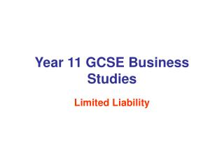 Year 11 GCSE Business Studies