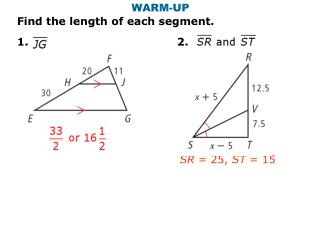 Find the length of each segment. 1. 2.