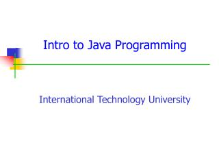 Intro to Java Programming