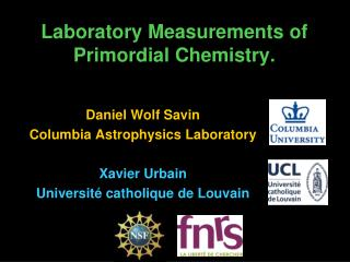 Laboratory Measurements of Primordial Chemistry.