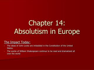 Chapter 14: Absolutism in Europe