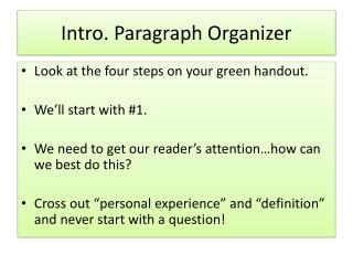 Intro. Paragraph Organizer