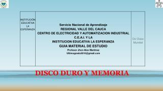 DISCO DURO Y MEMORIA